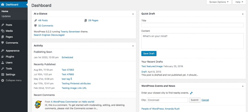 WordPress backend